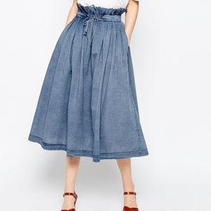 ASOS Denim Paper Bag Waist Midi Skirt